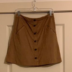 Jolt Suede Front Button Skirt